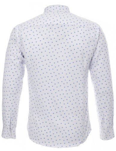 FLATSEVEN Homme Slim Fit Star Étoile Motif imprimé Blanc Casual Chemise Bleu