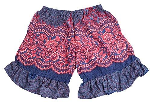 Lofbaz Niña Rayón impreso Hippie casual Pantalones florales Boho Flor Rosa Azul oscuro 3/4Y