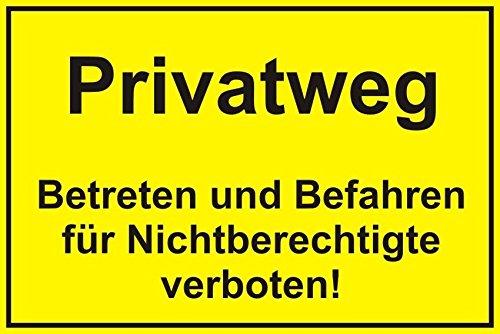 """Preisvergleich Produktbild Hinweisschild """"Privatweg"""", Größe: 40x30cm, Art. hin_023, Achtung, Vorsicht, Warnung, Hinweis für Privatweg, Privatgrundstück"""