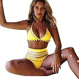 KIMODO Damen Bikinis Bikini-sets Bademode Push-up gepolsterter BH Mesh Badeanzug Bikinioberteil Schwarz Rot