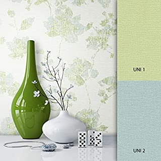 NEWROOM Blumentapete Tapete Grün Blumen Blätter Floral Vliestapete Vlies moderne Design Optik Blumentapete Modern inkl. Tapezier Ratgeber