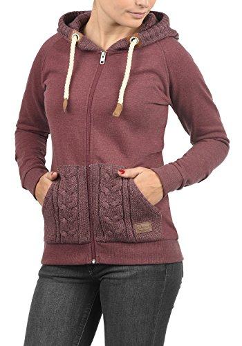 DESIRES Matilda Damen Sweatjacke Kapuzen-Jacke ZIp-Hoodie aus hochwertiger Baumwollmischung, Größe:M, Farbe:Wine Red Melange (8985) - 2