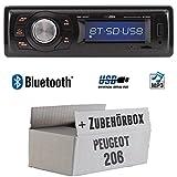 Peugeot 206 - Autoradio Radio Caliber RMD020BT - Bluetooth | MP3 | USB | Einbauzubehör - Einbauset