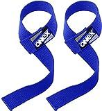 ONEX Cinghie Sollevamento Pesi Polsi Palestra Polsiere Crossfit Accessori Bilanciere per Palestra Lifting Straps Supporto Bodybuilding (Blue)