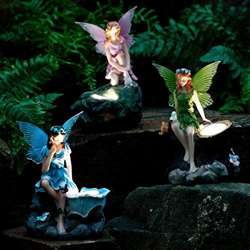 Gärtner Pötschke Gartenfiguren Elfen, 3er-Set mit Solar-LED-Lampen
