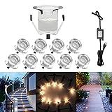 10er Terrassen Einbaustrahler - 0,6 Watt 40Lm Φ30mm Wasserdichte IP67 Blau Mini LED Einbauleuchten Einbauspots für Außenterrasse Garten