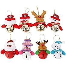 AYUTOY 8pcs Campanas de Navidad Viejo Ciervo de la Nieve, decoración de Navidad, decoración