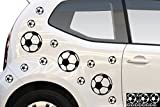 Kleb-drauf 13Balones de Fútbol/Blanco–Brillante–Pegatinas para decoración de Coches, Motor Ruedas y Todos los Otros Superficie Lisa en Exterior; de 19Colores a Elegir; Mate o Brillante