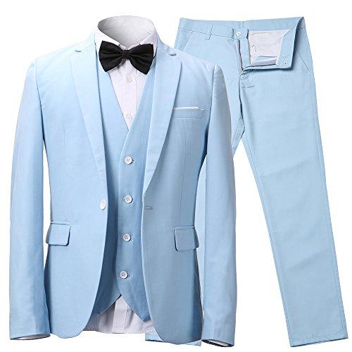Herren Anzug Slim Fit 3 Teilig mit Weste Sakko Anzughose Business Smoking von Harrms, Himmel Blau, EU 52/Hose 34 Test