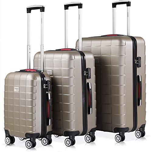 Monzana Hartschalenkoffer Kofferset 3 teilig | M L XL Champagner | TSA Schloss | Gel-Griff | Reisekoffer Trolley Koffer Set