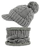 dy_mode Damen Mütze und Schal Kombi Set Schirmmütze Bommel mit Innenfutter - A305 (A305-Grau)