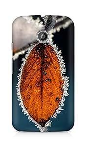 Amez designer printed 3d premium high quality back case cover for Motorola Moto E (Winter Icy Orange Leaf Macro)