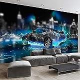 3D-Tapete, modern, cooles Sport-Auto, Fototapete für Wohnzimmer, Kinderzimmer, Wandtapete für Kinder, Cartoon, 3D-Wandbild