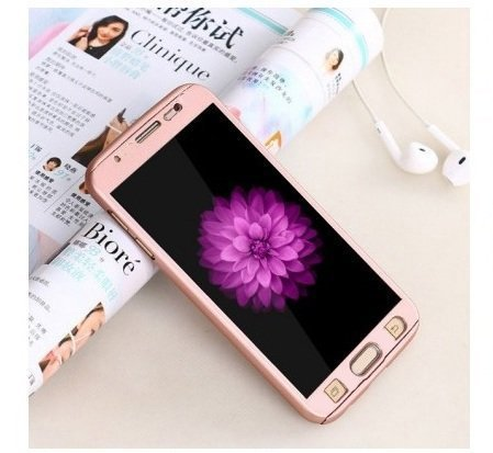 CEDO 360 Degree Full Body Protection Front & Back Case Cover for Samsung J7(6) 2016 J710 With Tempered Glass (iPaky Style) - Rose Gold