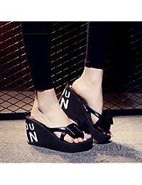 XIAMUO Sommer high-heeled Flip-Flops mit dicken Plattform Keile wasserdicht Plattform Hausschuhe Sandalen 35 Schwarz 11 Schmetterling