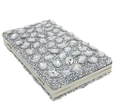 Nuovo Borsa Delle Signore Signore Diamante Borsa Colore Strass Foratura Calda Borsa Da Sera Mini Borse Da Banchetto Silver