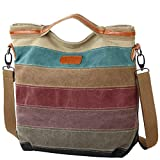 Damen Handtasche Multi-Color-Striped Umhängetasche Canvas Shopper Tasche Vintage Hobo Bags