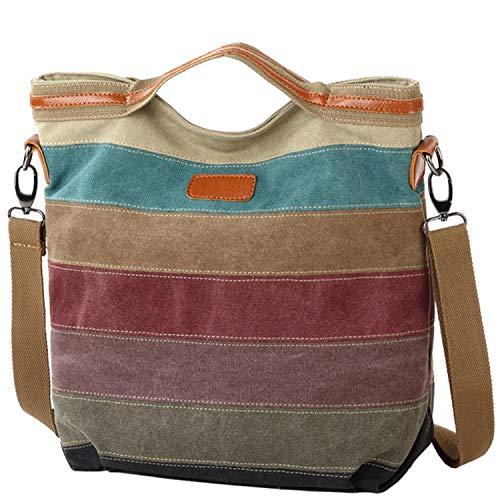 Damen Handtasche Multi-Color-Striped Umhängetasche Canvas Shopper Tasche Vintage Hobo Bags (Segeltuchtasche)