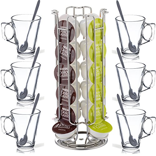 FiNeWaY@ New Revolving Rotating 24 Capsule Coffee Pod Holder Tower Stand Rack for Dolce Gusto With 6 Free Latte Glasses Test