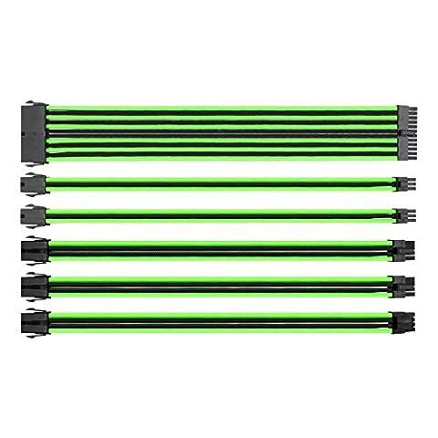 Thermaltake ttmod Sleeved Cable–Câble Rallonge pour blocs d'alimentation avec extra Sleeves–Noir/Vert