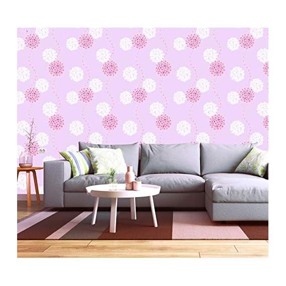 akadeco self Adhesive Decorative multipupose Pink White Floral Waterproof PVC Wallpaper (1 roll Size - 330X45cm)