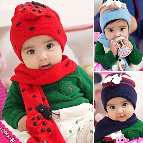 Guo Baby baby autunno e l'inverno lana vergine bambino Beetle coccinella sciarpa a due - tuta ( colore : Blu