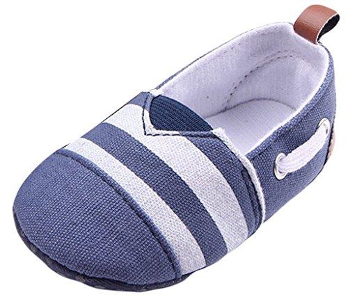Y-BOA Chaussons Bébé Garçon Fille Fille Toile Premier Pas Fond Mou Antidérapant Chaussure Bateau Bleu