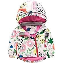 Baby Kinder Mädchen Reißverschluss Jacken - hibote Herbst Winter Niedlich Print Hooded Windbreaker Jacke Outwear Coat Kleidung