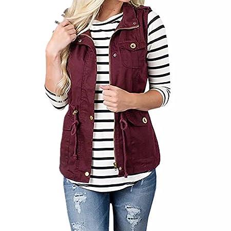 LeeY Damen Mode Beiläufig Einfarbig Leicht Ärmellos Jacke Dünn Mantel Taschen Weste Dehnbar Kordelzug Jacke Weste mit Reißverschluss Frühling Herbst Stilvoll Jacke Outwear