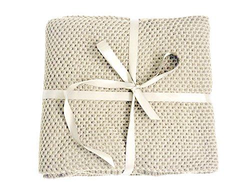 King Woven Bett (Spring Fever 100% Bio Baumwolle Weich Gestrickt Premium Überwurf Decke Baby 's Buggy Kinderzimmer Decke, F Beige, 31.5