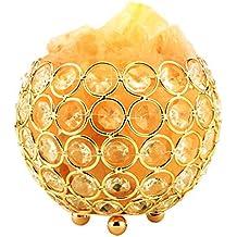 Lámpara De Sal, Yuedaer Natural del Himalaya de cristal de Dimmable de con el cilindro adornado con los diamantes de acrílico
