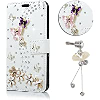 Coque Protection Samsung Galaxy A3 2016, Sunroyal® Etui Portefeuille Samsung Galaxy A3 (A310F) 3D Bling Bling Diamant Housse en PU Cuir Smartphone Bumper Case Cover Ultra Slim Motif Papillon Téléphones Portables Coverture Toute-Puissante Skin Paillette Glitter Strass Shell Porte Carte Stand pour Galaxy A3 (A3, 2016 Version) SM-A310F - Blanc