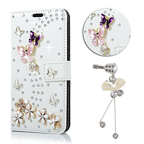 Sunroyal® Bling Glitter Diamand Strass Coque pour iPhone 4 4s Book-style Etui Housse en Premium Simili Cuir Portefeuille 3D Diamant Ballet Fille Pochette Skin Rabat Folio Case Cover de Protection Prot Bling 05
