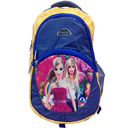 RoseBud Barbie/Cinderella Princess/Snow White Cartoon Print Yellow and blue Color (10-15 Lt/16 Inch/2-5 years) 4 Compartments Back and Shoulder Strap padding Polyester Backpack Bag for Nursery and Junior School Girls, Boys and Kids Students (Doraemon, Chota Bheem, Ben 10, Barbie, Motu Patlu, Cinderella Princess, Sponge Bob, Honey Bunny, Subway Surfers, Micky Mouse, Bugs Bunny, Tweety, Goofy, Tom, Jerry, Donald duck, Snow White etc)  available at amazon for Rs.440