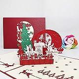 JSGJHK Grußkarte des Weihnachten 3d, Weihnachtsbaum, Papier des alten Mannes schnitt vorbildliche Karte
