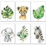 artpin Bilder Kinderzimmer 6er Deko Set Junge Mädchen - DIN A4 Poster Tiere - Safari Afrika Wandbilder - Porträt Elefant Zebra Wandbilder (P50)