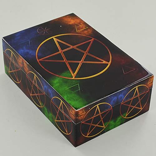 Prezentscom Pentagramm-Symbol-Box aus Holz mit Deckel für Schmuck Gothic Pagan Fantasy Geschenk
