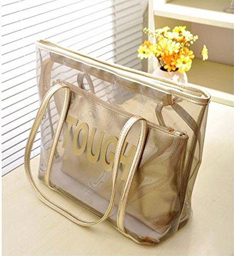 Zicac Grande borsa da spiaggia a tracolla, in PVC trasparente, color caramella, con sacca interna con zip oro