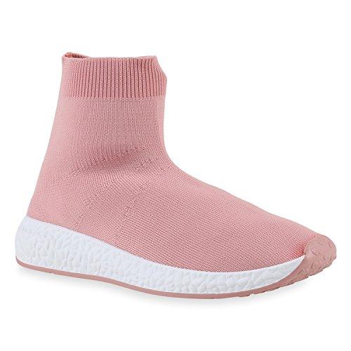 Damen Sportschuhe Laufschuhe Runners High-Sock Socken Sneakers Rosa