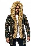 One Public MEGASTYL Herren Jacke Winterjacke Camouflage mit Abnehmbaren Kunstfell, Größe:S, Farbe:Camouflage