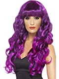 Womens Long Curly Fringe Green Purple Glamour Gothic Sea Witch Fancy Costume Wig PURPLE & BLACK