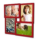 405 Fotogalerie für 4 Fotos 13x18 cm - 3D Optik - Bilderrahmen Bildergalerie Fotocollage Rahmenfarbe Rot