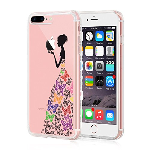 iPhone 7 Plus Cover, YIGA Ragazza Posteriore Piume Trasparente Silicone Morbido TPU Case Custodia per Apple iPhone 7 Plus 5.5 WM2A