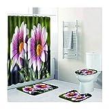 Epinki Polyester 4 Pcs Duschvorhang & Toilettenmatte & Teppich Blumen Muster Badewanne Vorhang Teppiche Set Waschbar Rose 180x180CM
