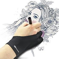 HUION Gant antidérapant de Dessin d'artiste, Gant pour Tablette Graphique de Dessin Taille Universelle avec Deux Doigts pour Main Droite ou Main Gauche - Paquet de 1