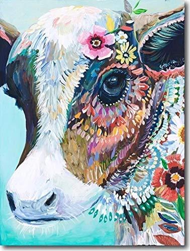 Yeesam Art DIY Malen nach Zahlen für Erwachsene, Anfänger, Kinder, XXXXXX 40,6 x 50,8 cm, Leinenleinen, Acryl, Stress weniger Zahlen Malen, Geschenke, kuh, Without Frame