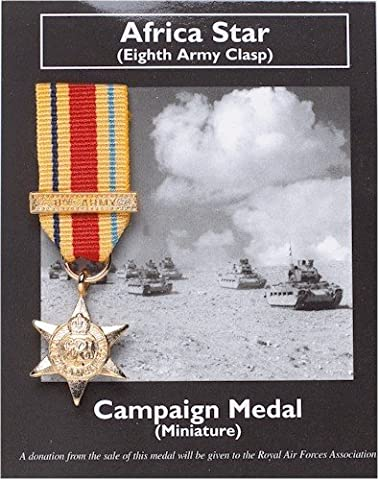 AFRICA STAR (Eighth Army Clasp) BRITISH CAMPAIGN MEDAL MINI