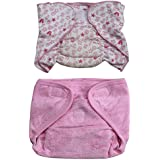 Annapurna Sales 100% Pure Ultra-Soft Cotton New Born Baby Diapers Or Reusable Padded New Born Baby Nappies Combo Pack Of 2 Pcs. - Pink ( 9 - 12 Months ) !! Skin Friendly And Premium Quality !!