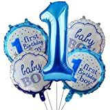 Party Propz 1st birthday Balloons decoration for baby boy - 5Pcs For Mickey mouse, Cake Smash, High Chair, Personalized, Mine