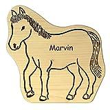 Frühstücksbrettchen für Kinder aus Holz in Pferde-Form + personalisiert mit Name - splittert nicht, ideal zum Frühstücken, Abendbrot, Kochen und Backen